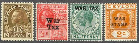 Britské známky War Tax z doby první světové války