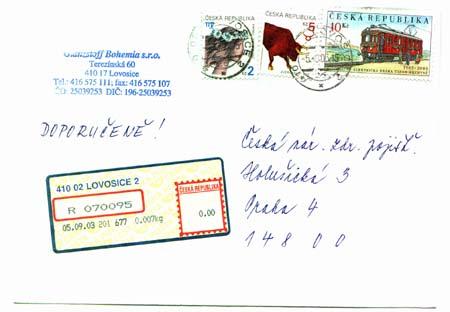 Celistvosti ze současného poštovního provozu