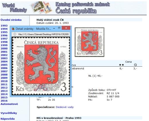 Ceník - katalog poštovních známek - Česká republika (1993-2019) - World Philately 2020 - NOVINKA!