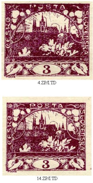 Další retuše na známkách emise Hradčany 3h