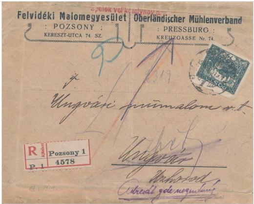 Doporučený list zaslaný do Užhorodu 9 dní po pripojení Zakarpatskej Ukrajiny k ČSR