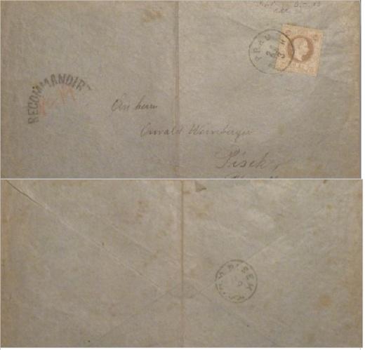 Falza celistvostí frankovaných známkou 50 Kreuzer rakouské emise z roku 1867