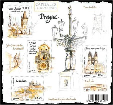 Francie vydala aršík zobrazující Prahu