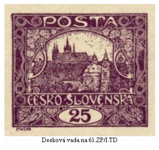 Hradčany 25h kresby e) – retuše deskových vad na 61. a 73. známkových polích