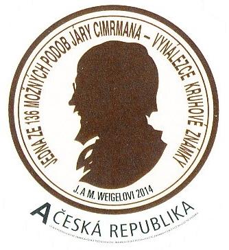 Jedna z možných podob Járy Cimrmana – vynálezce kruhové známky