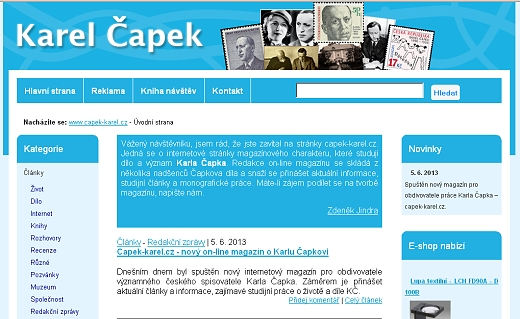 Karel Čapek - Capek-karel.cz - on-line magazín