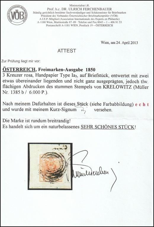 Němé razítko z Křelovic nebo Čimelic? Atest prof. Dr. U. Fechenbauer vs. J. Pelikán