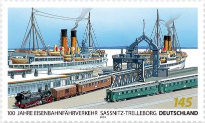 Německá emise ke 100.jubileu železníčního přívozu Sassnitz-Trelleborg
