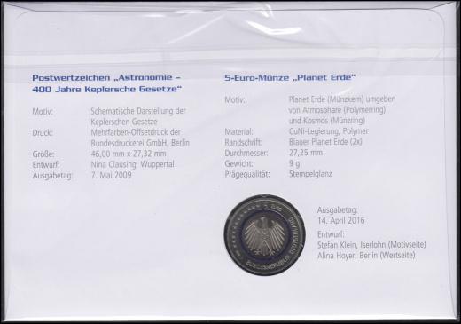 Německá numismatická obálka PLANETA  ZEMĚ - bohemikum