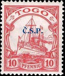 Neznámý přetisk na  známce německé kolonie Togo