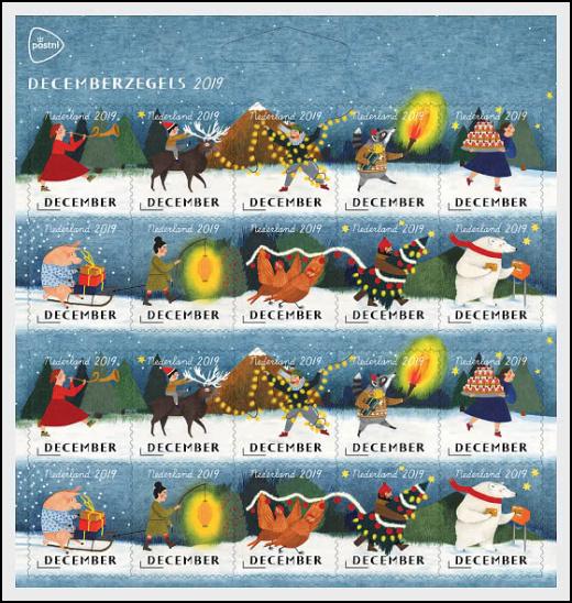 Nizozemí - prosincové známky 2019