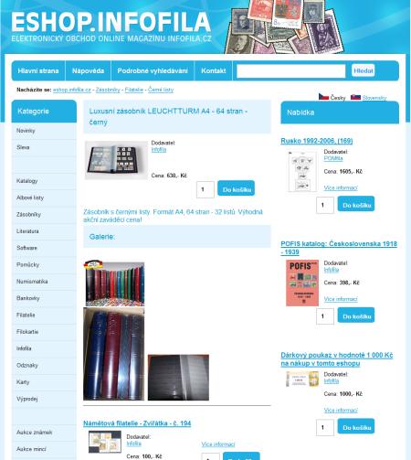 Nová grafika našeho internetového obchodu se zaměřením na sběratelství - eshop.infofila.cz