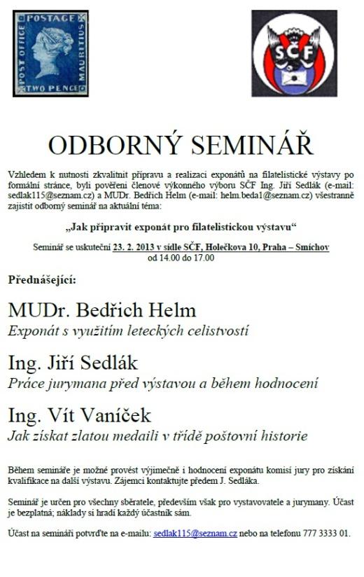 Odborný seminář - Jak připravit exponát pro filatelistickou výstavu
