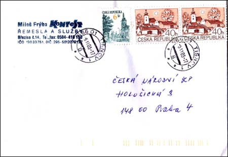 Poštovní provoz od 1. 11. 2003