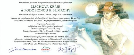 Pozvánka na slavnostní inauguraci známkového aršíku K. H. Máchy - Máchův kraj