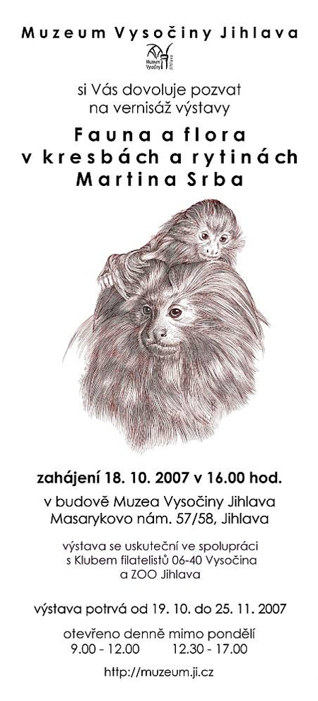 Pozvánka na vernisáž výstavy Fauna a flora v kresbách a rytinách Martina Srba