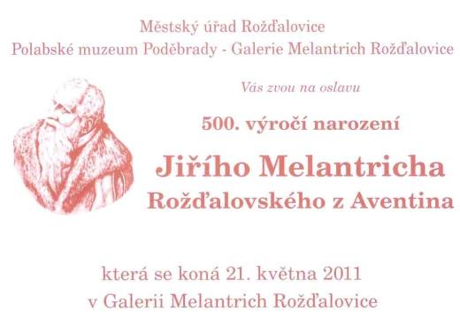 Pozvánku na oslavu 500.výročí narození Jiřího Melantricha