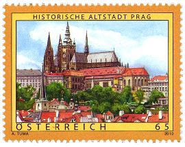 Praha na rakouské známce