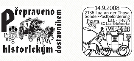 Přeprava poštovních zásilek balonem a historickým dostavníkem - Praga 2008