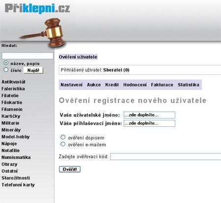 Přiklepni.cz - internetová sběratelská aukce spuštěna!