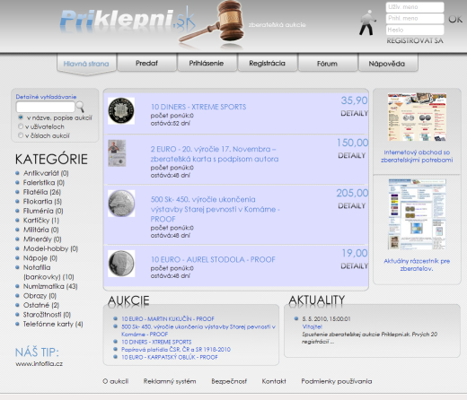 Priklepni.sk - internetová zberateľská aukcia
