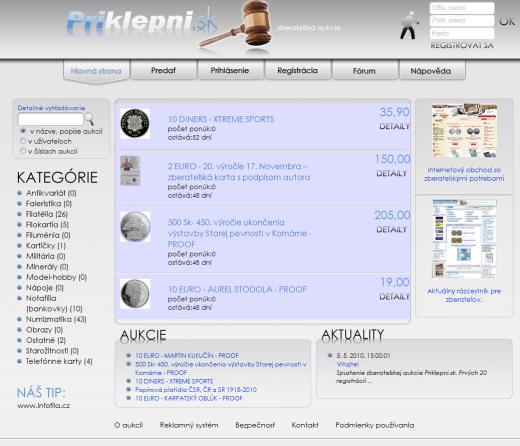Priklepni.sk - nová internetová zberateľská aukcia