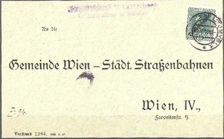 Rakouské známky Deutschösterreich použité v ČSR