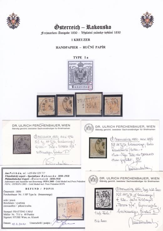 Rakousko emise 1850: Nejvzácnější barvy 1 Kreuzer