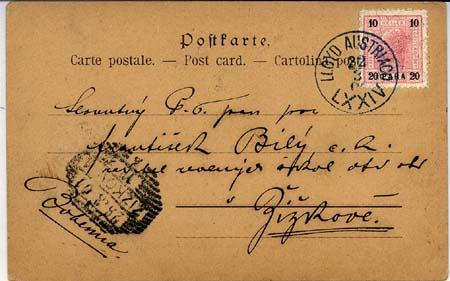 Razítka lodních pošt Rakouského Lloydu