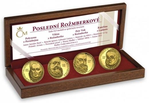 Sada 4 zlatých medailí Poslední Rožmberkové proof
