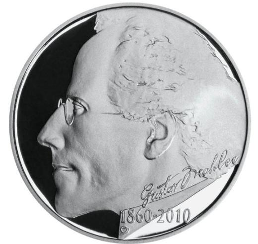 Stříbrná 200 Kč mince Gustav Mahler proof