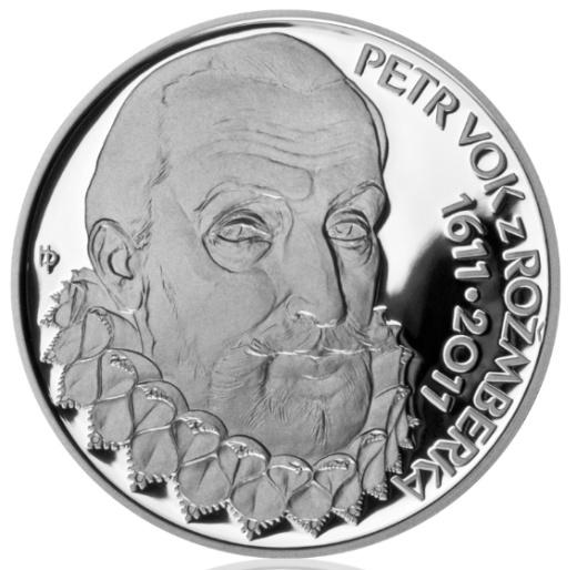 Stříbrná 200 Kč mince Petr Vok z Rožmberka proof