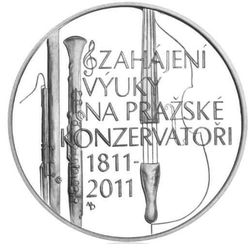 Stříbrná 200 Kč mince Zahájení výuky na pražské konzervatoři proof