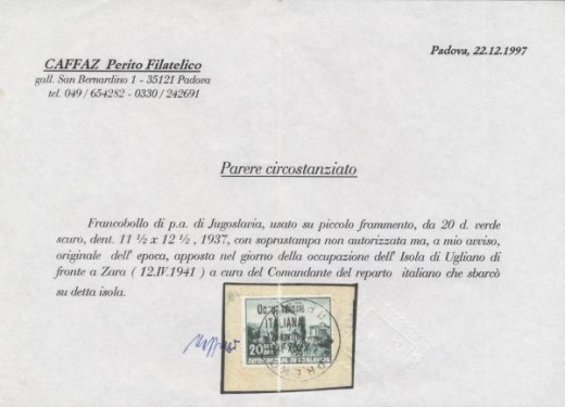 Ugljan (Occupazione ITALIANA 12 aprile 1941)