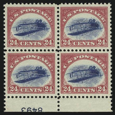 Unikátní čtyřblok letecké známky USA s obráceným středem z r. 1918 prodaný za 2 700 000$