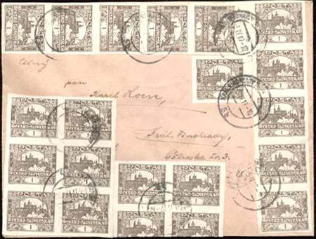Vícenásobné frankatury Hradčan - hodnota 1 halíř