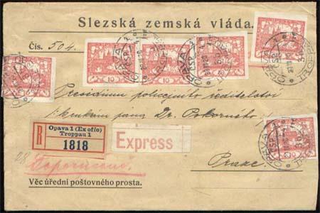 Vícenásobné frankatury Hradčan - hodnota 10 hal. (červená)