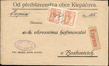 Vícenásobné frankatury Hradčan - hodnota 40 hal.