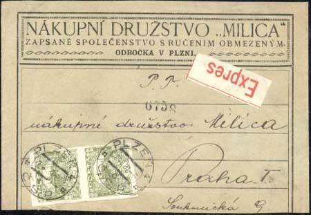 Vícenásobné frankatury Hradčan - hodnota 80 hal.