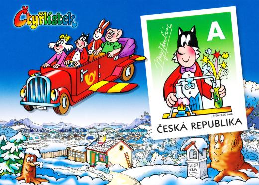 Vydání pohlednice Myšpulín s natištěnou písmenovou známkou A -  Fifinka
