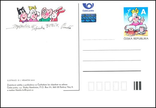 Vydání pohlednice Pinďa s natištěnou písmenovou známkou A - Fifinka