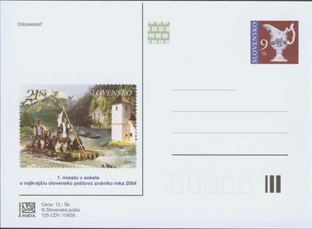 Vydanie príležitostného poštového lístka s prítlačou -  anketa o najkrajšiu slovenskú známku r. 2004