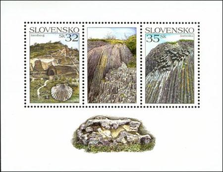 Vydanie  príležitostných poštových známok Geologická lokalita Sandberg a Geologická lokalita Šomoška