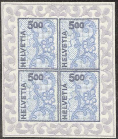 Vyšívaná známka Švýcarska