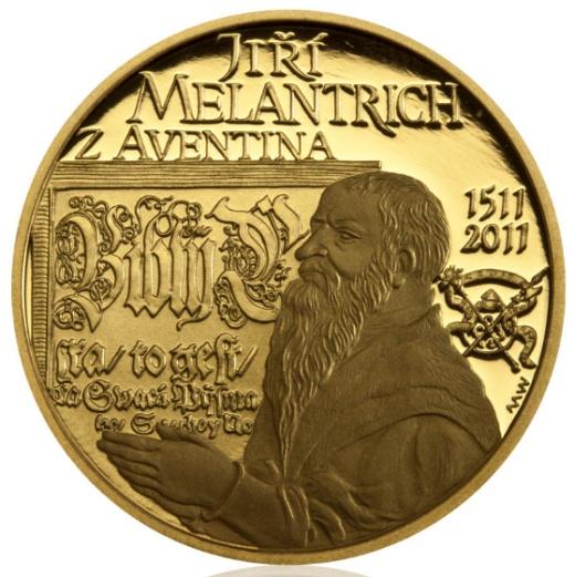 Zlatá půluncová medaile Jiří Melantrich z Aventina proof
