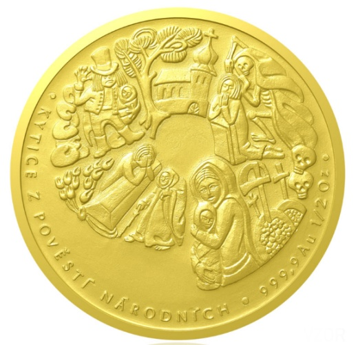 Zlatá půluncová medaile Karel Jaromír Erben proof