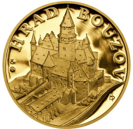 Zlatá uncová medaile Hrad Bouzov proof