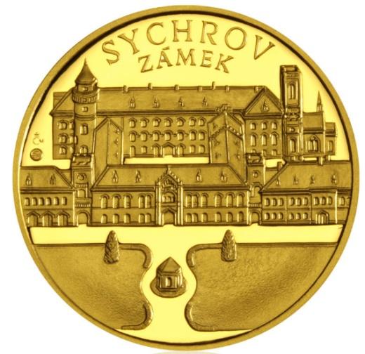 Zlatá uncová medaile Zámek Sychrov proof