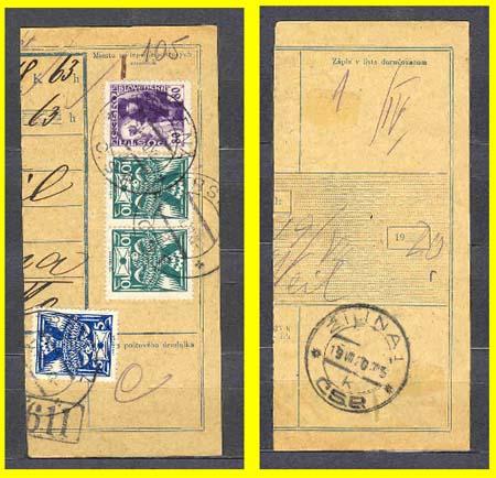 Známky Husita použité na plebiscitním území